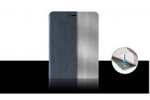 """Фирменный чехол-книжка из качественной водоотталкивающей импортной кожи на жёсткой металлической основе для Oppo R7s"""" синий"""