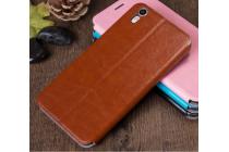 """Фирменный чехол-книжка  для Oppo R9+ plus"""" из качественной водоотталкивающей импортной кожи на жёсткой металлической основе коричневого цвета"""