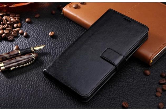 Фирменный чехол-книжка для  Оппо Р9 плюс  с визитницей и мультиподставкой черный кожаный