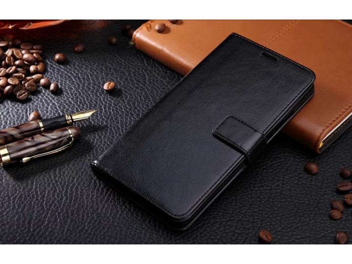 Фирменный чехол-книжка для  Оппо Р9 плюс  с визитницей и мультиподставкой черный кожаный..