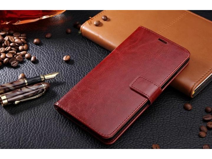 Фирменный чехол-книжка для  Оппо Р9 плюс с визитницей и мультиподставкой коричневый кожаный..