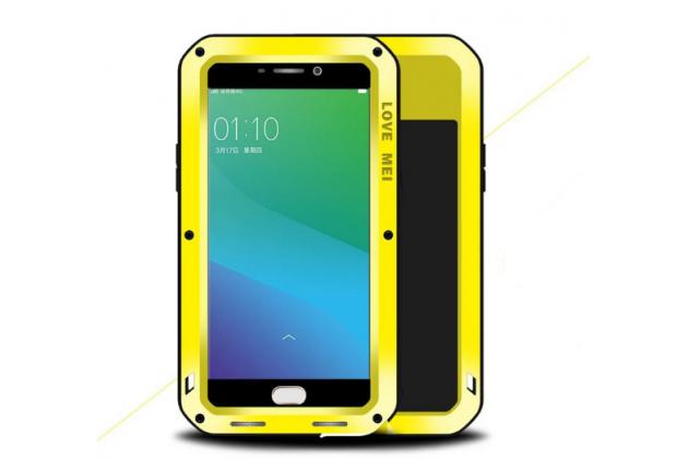 """Неубиваемый водостойкий противоударный водонепроницаемый грязестойкий влагозащитный ударопрочный фирменный чехол-бампер для Oppo R9+ plus""""  цельно-металлический со стеклом Gorilla Glass желтый"""