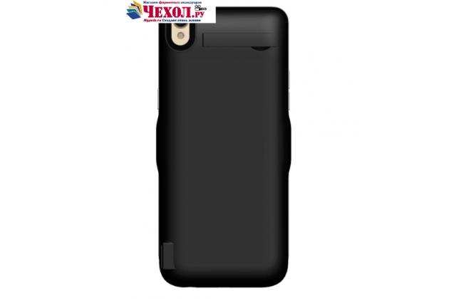 """Чехол-бампер со встроенной усиленной мощной батарей-аккумулятором большой повышенной расширенной ёмкости 6500mAh для Oppo R9"""" черный + гарантия"""