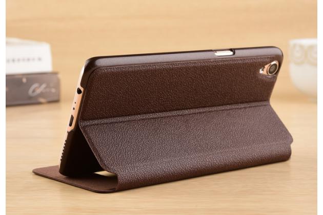"""Фирменный чехол-книжка для Oppo R9"""" коричневый с окошком для входящих вызовов и свайпом водоотталкивающий"""