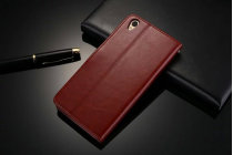 Фирменный чехол-книжка для  Оппо Р9 с визитницей и мультиподставкой коричневый кожаный