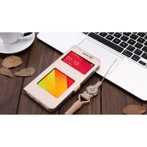Фирменный чехол-книжка для Oppo R9S Plus золотой с окошком для входящих вызовов и свайпом водоотталкивающий