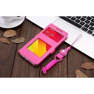 Фирменный чехол-книжка для Oppo R9S Plus розовый с окошком для входящих вызовов и свайпом водоотталкивающий