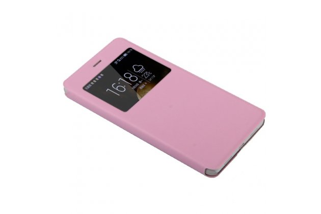 Фирменный оригинальный чехол-книжка для Oppo R9S розовый с окошком для входящих вызовов водоотталкивающий