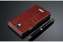 """Фирменный чехол-книжка для  Оппо У3"""" с визитницей и мультиподставкой коричневый кожаный"""