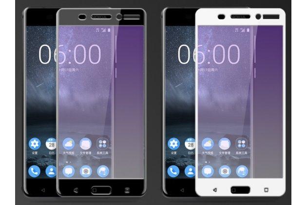 Фирменное 3D защитное изогнутое стекло которое полностью закрывает экран / дисплей по краям с олеофобным покрытием для Nokia 8
