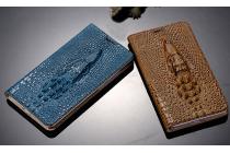 Фирменный роскошный эксклюзивный чехол с объёмным 3D изображением кожи крокодила коричневый для OPPO R7 Plus . Только в нашем магазине. Количество ограничено