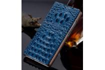 Фирменный роскошный эксклюзивный чехол с объёмным 3D изображением рельефа кожи крокодила синий для OPPO R7 Plus. Только в нашем магазине. Количество ограничено