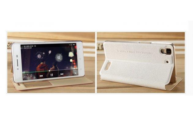 Фирменный оригинальный чехол-книжка для Oppo R7 белый кожаный с окошком для входящих вызовов