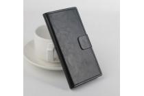 Фирменный чехол-книжка из качественной импортной кожи с мульти-подставкой застёжкой и визитницей для Оппо Р7  черный