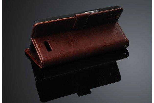 Фирменный чехол-книжка из качественной импортной кожи с мульти-подставкой застёжкой и визитницей для Оппо Р7 коричневый