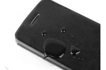 Фирменный чехол-книжка из качественной водоотталкивающей импортной кожи на жёсткой металлической основе для Oppo R7 коричневый