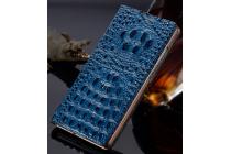 Фирменный роскошный эксклюзивный чехол с объёмным 3D изображением рельефа кожи крокодила синий для Oppo R7. Только в нашем магазине. Количество ограничено