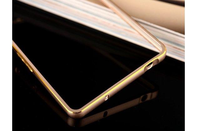 Фирменный оригинальный ультра-тонкий чехол-бампер для Oppo R7 золотой  металлический
