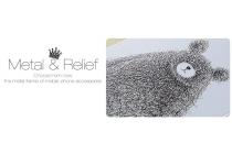 """Фирменная серебряная металлическая задняя панель-крышка-накладка из тончайшего облегченного авиационного алюминия для Oppo R7 с объёмным 3D рисунком """"тематика Весёлый Мишка"""""""