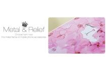 """Фирменная розовая металлическая задняя панель-крышка-накладка из тончайшего облегченного авиационного алюминия для Oppo R7 с объёмным 3D рисунком """"тематика Роскошные Цветы"""""""