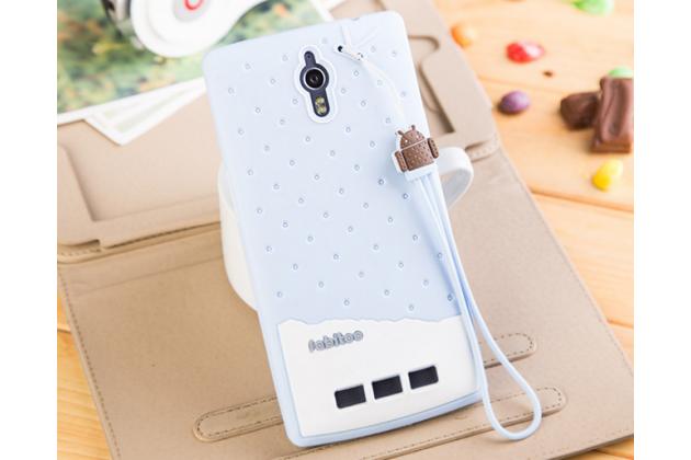 """Фирменная необычная уникальная полимерная мягкая задняя панель-чехол-накладка для Oppo Find 7 """"тематика Андроид в черничном  Шоколаде"""""""