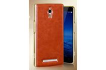 Фирменная роскошная элитная премиальная задняя панель-крышка на металлической основе обтянутая импортной кожей для Oppo Find 7 королевский коричневый
