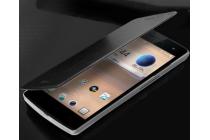 Фирменный чехол-книжка из качественной водоотталкивающей импортной кожи на жёсткой металлической основе для Oppo Find 7 черный
