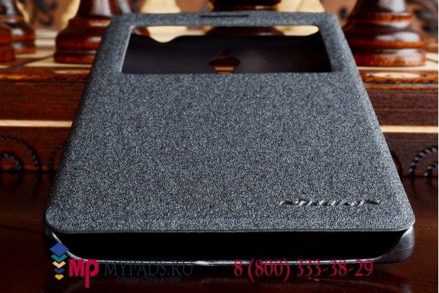 Фирменный оригинальный чехол-книжка для Oppo Find 7 (X9007) черный кожаный с окошком для входящих вызовов