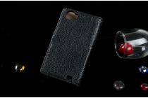 Фирменный чехол-книжка для  Оппо файндер Х907  с визитницей и мультиподставкой черный кожаный