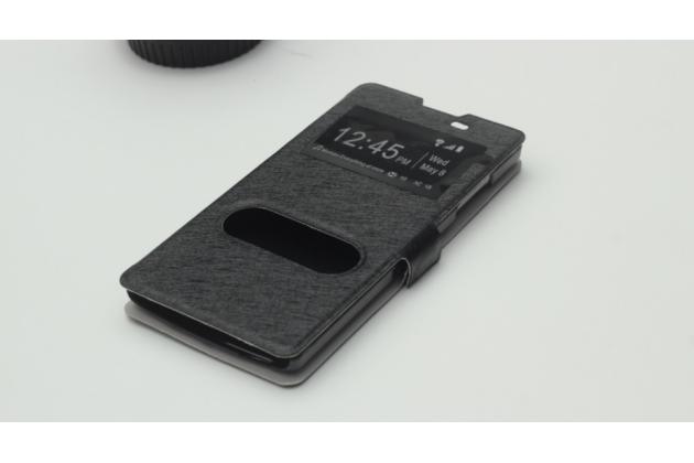 """Фирменный чехол-книжка для Oppo R831S/R831K"""" черный с окошком для входящих вызовов и свайпом водоотталкивающий"""