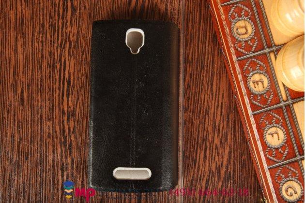 Фирменный оригинальный чехол-книжка для Oppo R831S черный кожаный