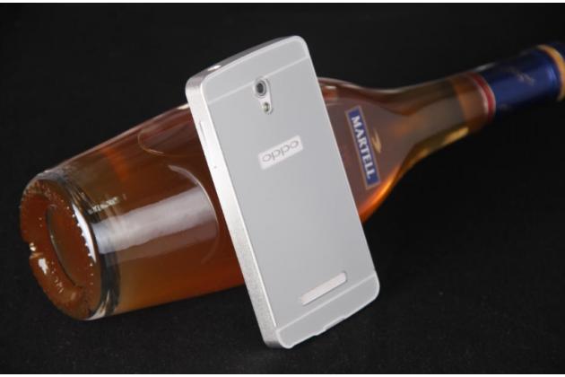 """Фирменная металлическая задняя панель-крышка-накладка из тончайшего облегченного авиационного алюминия для OPPO Clover R815"""" серебряная"""