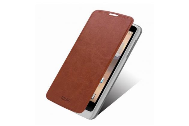 """Фирменный чехол-книжка из качественной водоотталкивающей импортной кожи на жёсткой металлической основе для OPPO Clover R815"""" коричневый"""