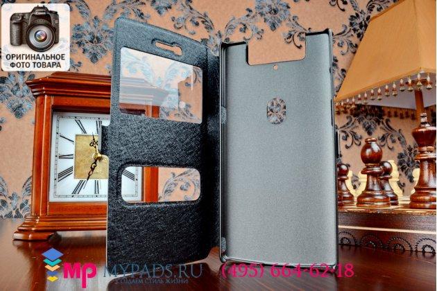 Фирменный оригинальный чехол-книжка для Oppo N3 черный кожаный с окошком для входящих вызовов и свайпом