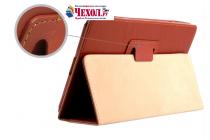 Фирменный чехол-обложка с подставкой для Onda V891 / V891W 8.9 коричневый кожаный