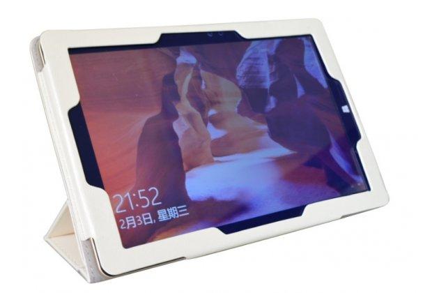 """Фирменный оригинальный чехол обложка с подставкой для Onda oBook 10 SE 10.1"""" белый кожаный"""