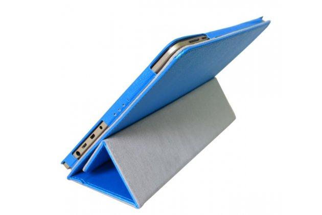 """Фирменный оригинальный чехол обложка с подставкой для Onda oBook 10 SE 10.1"""" голубой кожаный"""