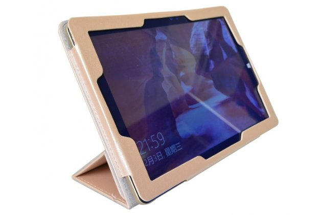 """Фирменный оригинальный чехол обложка с подставкой для Onda oBook 10 SE 10.1"""" золотой кожаный"""