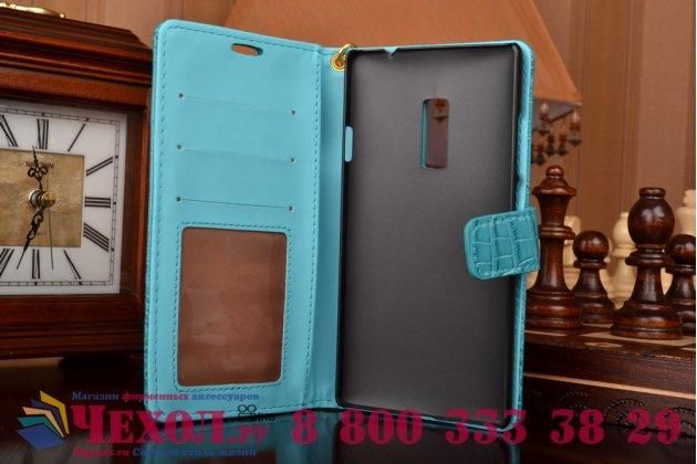 Фирменный чехол-книжка с подставкой для OnePlus 2 (Two) A2001 лаковая кожа крокодила цвет морской волны бирюзовый