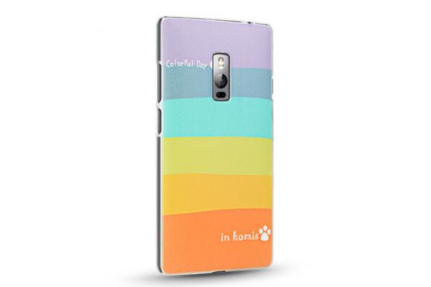 """Фирменная необычная из легчайшего и тончайшего пластика задняя панель-чехол-накладка для OnePlus 2 (Two) A2001  """"тематика Все цвета Радуги"""""""