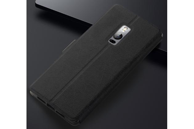 Фирменный чехол-книжка для OnePlus 2 черный с окошком для входящих вызовов и свайпом водоотталкивающий