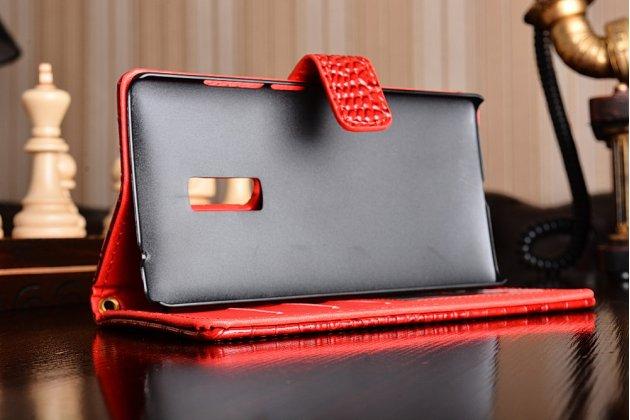 Фирменный чехол-книжка с подставкой для OnePlus 2 (Two) A2001 лаковая кожа крокодила алый огненный красный