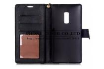 Фирменный чехол-книжка с подставкой для OnePlus 2 (Two) A2001 лаковая кожа крокодила цвет черный