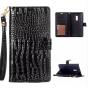 Фирменный чехол-книжка с подставкой для OnePlus 2 (Two) A2001 лаковая кожа крокодила цвет черный..
