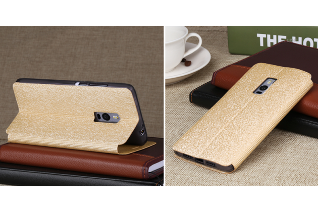 Фирменный чехол-книжка водоотталкивающий с мульти-подставкой на жёсткой металлической основе для OnePlus 2 (Two) A2001  золотой