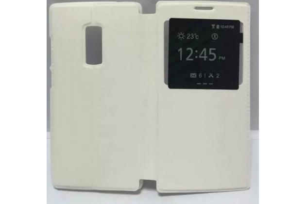 Фирменный оригинальный чехол-книжка для OnePlus 2 (Two) A2001 белый кожаный с окошком для входящих вызовов