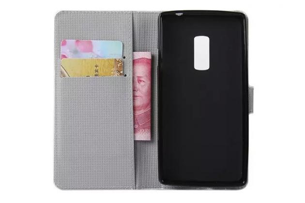 """Фирменный уникальный необычный чехол-книжка для OnePlus 2 (Two) A2001 """"тематика цветок Сакуры"""""""