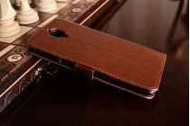 Фирменный чехол-книжка из качественной импортной кожи с подставкой застёжкой и визитницей для OnePlus 3 коричневый