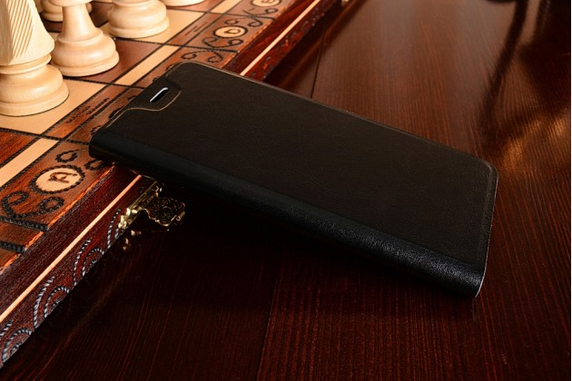 Фирменный чехол-книжка из качественной водоотталкивающей импортной кожи на жёсткой металлической основе для OnePlus 3 черный