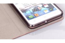 Фирменный чехол-книжка из качественной водоотталкивающей импортной кожи на жёсткой металлической основе для OnePlus 3 коричневый